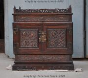 Huge Old China Huanghuali Wood Carved Eight Treasures Cabinet Box Jewelry Boxes