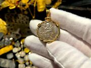Italy Jesus Christ 1229-1249 Twisted Bezel 18kt Gold Jewelry Necklace Pendant