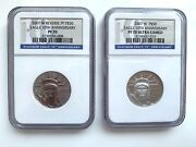 2007-w 10-th Anniversary 50 Platinum Set Ngc Pr70 Pf70 Proof And Reverse 2-coins
