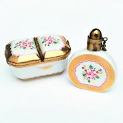 Vintage Matching Floral Perfume Bottle And Double Sided Limoges Trinket Box