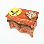 Dresser With Hat And Book Limoges Trinket Box