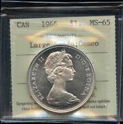 1966 Canada Silver Dollar - Iccs Ms-65. Large Beads Cameo - Xmh198