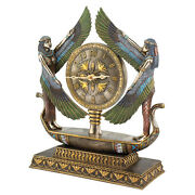 Hieroglyphic Numeral Double Winged Isis Goddess Egyptian Barge Desk Mantle Clock