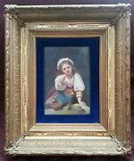 Painting On Porcelain Plaque Of Girl With Fruit