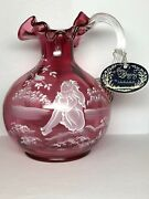 Fenton Mary Gregory Vase 573/1950 Hand Painted By Jo Ryanolds Rose Pink Glass