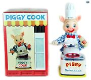 Original 1940s Japanese Vintage Andldquopiggy Chef Cookandrdquo Battery Operated Toy With Box