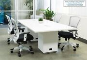 8 Ft Foot Rectangle Conference Table With Power And Usb White Gray Espresso