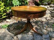 Heritage Henredon Walnut Drum Loo Center Or Library Leather Top Circular Table