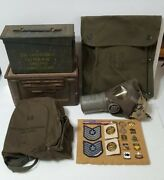 Lot Of U.s.vintage/millitary/wwii,gas Mask,ammo Boxes,crest Pins.. Collectibles