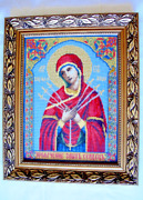 Completed Cross Stitch Theotokos With Seven Arrows Religious Art Softening Heart