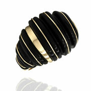 Carved Black Onyx Inlay Ring In 14k Yellow Gold