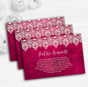 Berry Pink Old Paper And Lace Effect Custom Wedding Gift Request Money Poem Cards