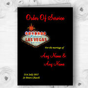 Las Vegas Sign Fabulous Personalised Wedding Double Sided Cover Order Of Service