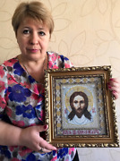 Completed Cross Stitch Image Of Edessa Religious Russian Icon Wall Art Handmade