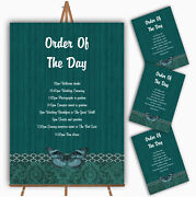 Rustic Vintage Wood Butterfly Turquoise Teal Wedding Order Of The Day Cards