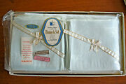 Vintage Damask Tablecloth And Napkin Set Baby Blue Cotton And Rayon 60x102 Inches