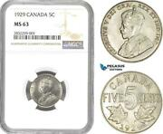 Ad716-r Canada George V 5 Cents 1929 Ngc Ms63