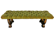 Antique Green Art Nouveau Tufted Bench One Of A Kind Heavy Wear