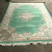 9x12and039 Genuine Hand-woven In India 100 Fine Wool Pile Oriental Rug Light Green
