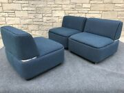 Set Of 3 Post Modern Thonet Cube Sofa Sectional Slipper Chairs In Blue And Chrome