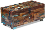 Rustic Reclaimed Wood Storage Chest Coffee Table Trunk, 3 Compartments, 1 Drawer