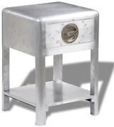 Retro Airplane Aviator Side Accent Table Silver Riveted Aluminum Drawer Shelf