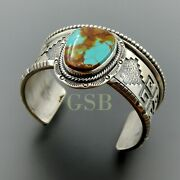 Handcrafted Sterling Silver Solid Heavy American Turquoise Overlay Wide Cuff