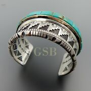 Handcrafted Sterling Silver Turquoise Inlay Complex Overlay Heavy Wide Bracelet