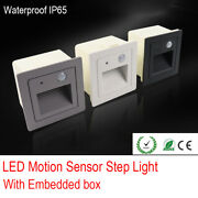 Outdoor Led Motion-sensor Step Stair Light Footlight Corner Wall Lamp With Box