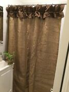 Natural Burlap Shower Curtain With Dark Brown Ruffle At The Top Custom Made Show