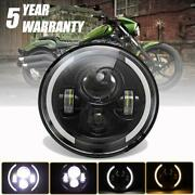 Dot 7 Led Headlight Angle Eye Projector Drl For Harley Davidson Touring Softail