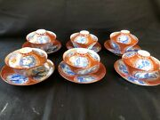 6 X Antique Japanese Hirado Eggshell Tea Cup And Saucer With Lid 1870-90