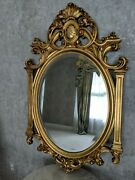 20thc Italian Rococo Giltwood 27 X 45 Highly Ornate Hand-carved Mirror Oval