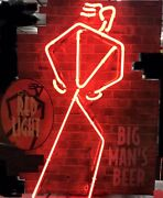 Authentic 1995 Coors Light Red Light Big Manand039s Beer Neon Sign