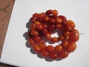Vtg Collectible Eggs Beaded Natural Amber Yolk Butterscotch Huge Necklace 34 L