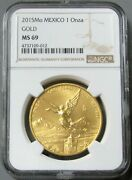 2015 Mo Gold Mexico 1 Onza Winged Victory Coin Ngc Mint State 69