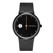 Mens Quartz Watch Black Dial Aolly Case Personalized One Hand Time Simple Casual