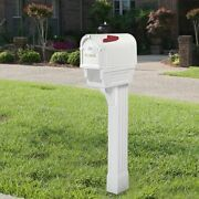 Mailbox With Post Kit White Residential Mail Box Rust Proof Plastic Heavy Duty