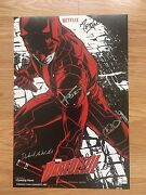 Authentic Autographed 6x Daredevil Season 2 Poster, Charlie Cox, Elodie Yung, Nm