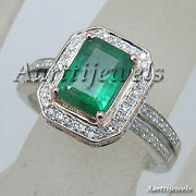 0.80ct Diamond Emerald 14k White Gold Wedding Womenand039s Ring Shop Early And Save