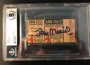 1946 World Series Ticket Gm 4 Signed /hit Stan Musial Cardinals Vs Red Sox Bas