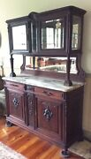 Antique French Walnut Sideboard Marble Top Mirrors Beveled Glass Curio Top