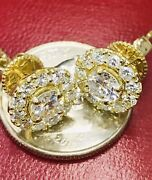 14k Solid Yellow Gold Natural Diamond Stud Earring Halo 1.40 Ct