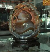 Old China Natural Agate Onyx Carved Wealth Coin Animal Monkey Lucky Gourd Statue