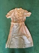 Vintage Official Girl Scout Brownie Uniform Dress With Belt Side Button Closure