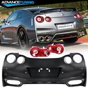 Fits 09-22 Nissan Gtr R35 Oe Factory Style Rear Bumper Cover + Tail Lights Pair