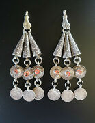 Morocco - Pair Of Silver Cones And Antique Coins With Genuine Coral Beads