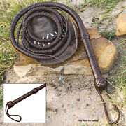 8ft Handcrafted Genuine Leather Bullwhip Whip Indiana Jones Cowboy + Wrist Strap