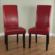 Red Leather Dining Room Chairs Set Of 2 Parson High Back Chair Furniture New