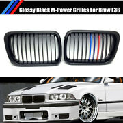 M-color Glossy Black Front Vent Kidney Sport Grills For Bmw 3 Series E36 97-99